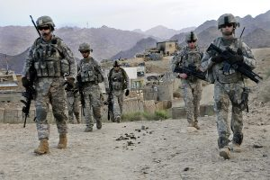 U.S. Soldiers depart Forward Operating Base Baylough, Afghanistan, June 16, 2010, to conduct a patrol. The Soldiers are from 1st Platoon, Delta Company, 1st Battalion, 4th Infantry Regiment. (DoD photo by Staff Sgt. William Tremblay, U.S. Army/Released)